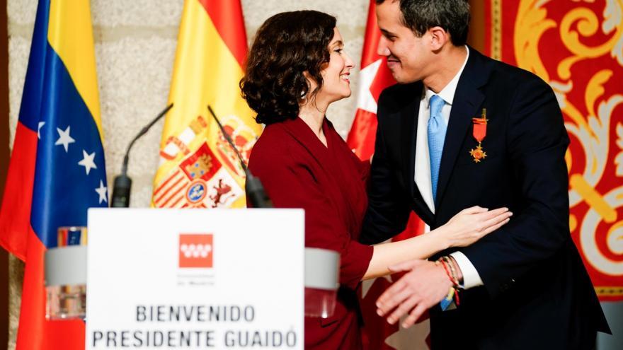 Isabel Díaz Ayuso durante la recepción a Juan Guaidó en la Real Casa de Correos