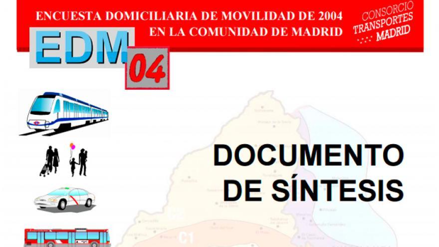 Portada del documento de síntesis de la Encuesta Domiciliaria de Movilidad de la Comunidad de Madrid 2004
