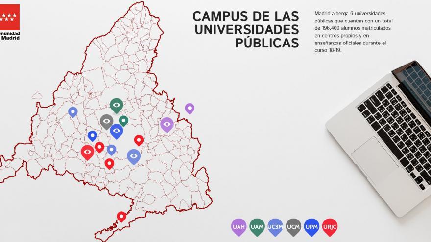 Mapa de las universidades públicas madrileñas
