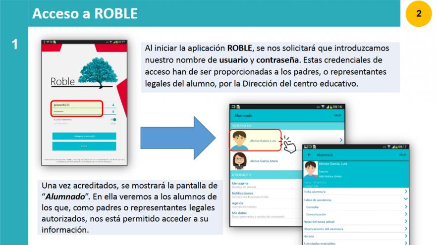 Pantalla con textos e imágenes de ayuda para el acceso por móvil