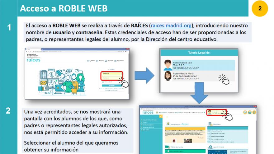 Pantalla con textos e imágenes de ayuda para el acceso por navegador