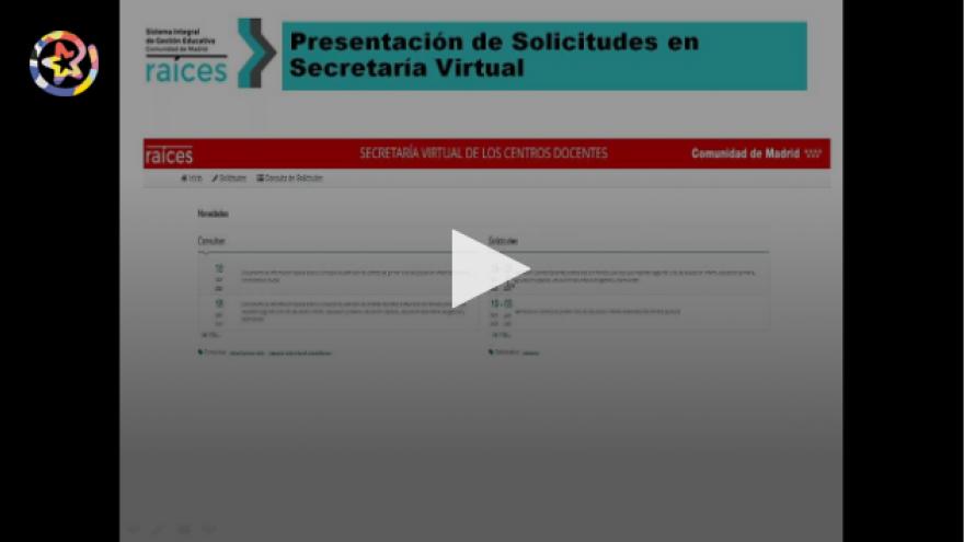 Vídeo explicativo de presentación de solicitudes en Secretaría Virtual