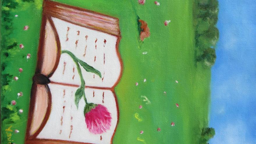 libro con flor