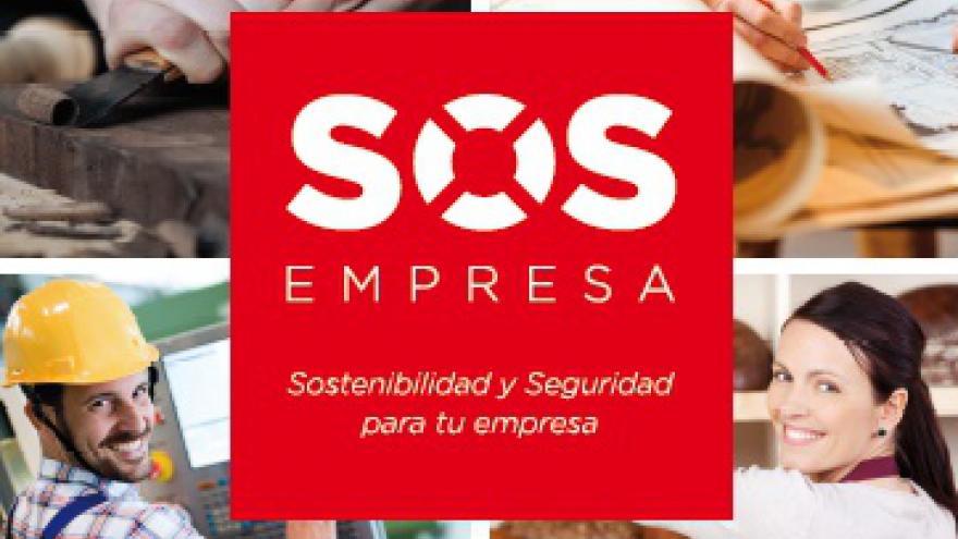 Cuatro imágenes de emprendedores y en el centro el logo del programa