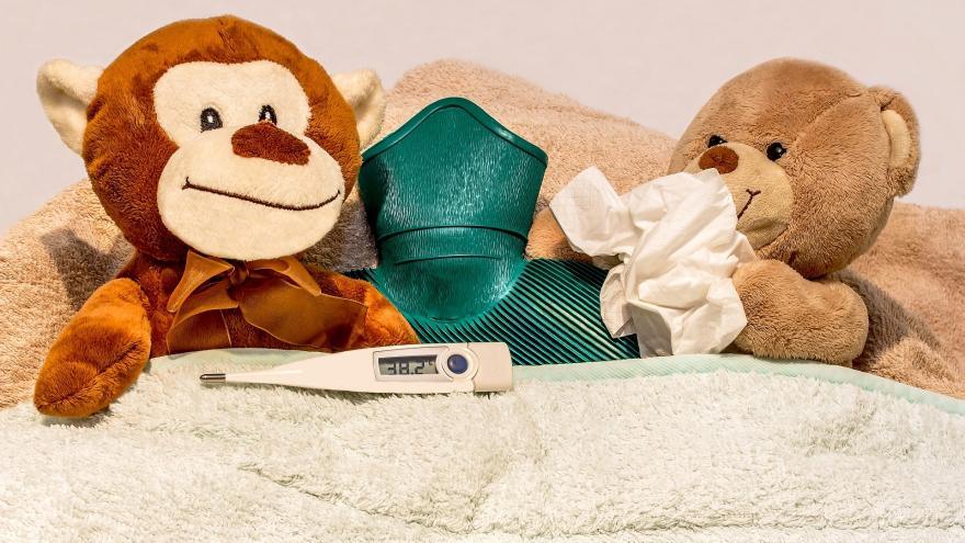 oso y momo en cama con termometro y bolsa agua caliente
