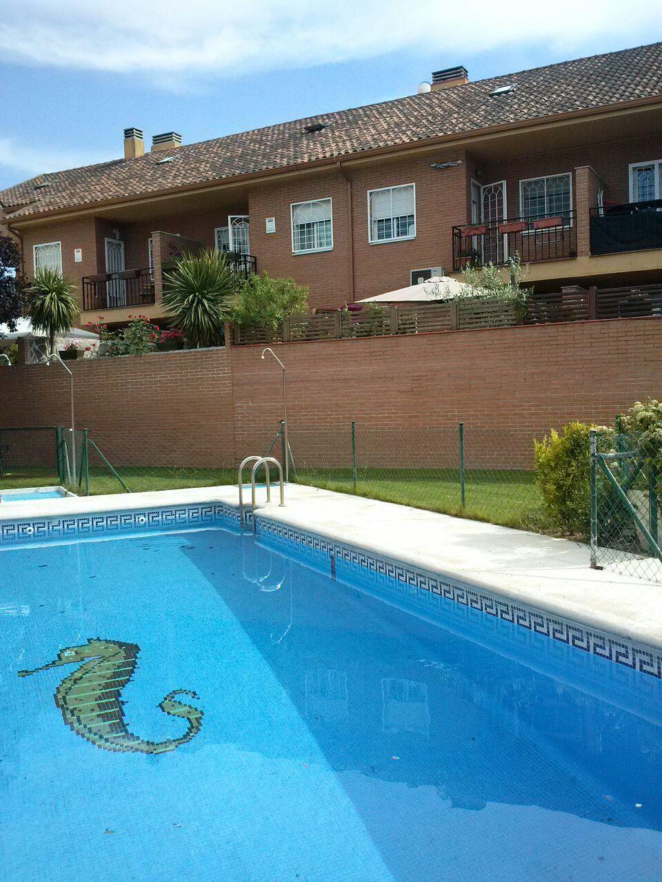 Vista superior de una piscinas de una urbanización de vecinos