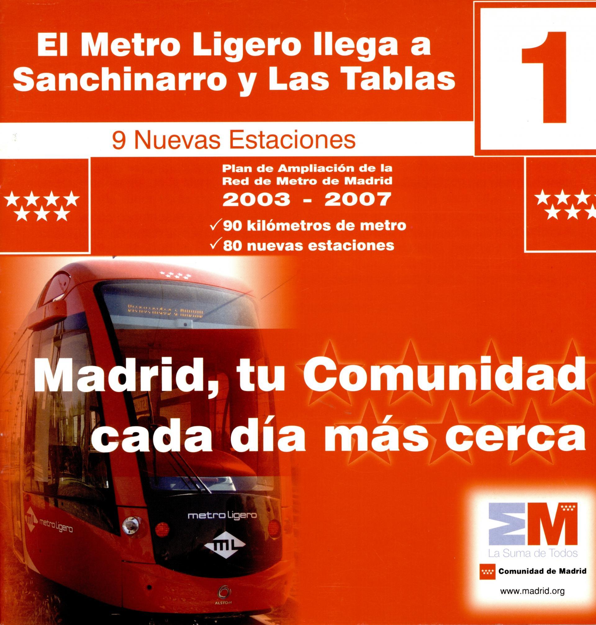 Carátula el metro ligero llega a Sanchinarro