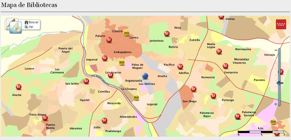 Mapa de bibliotecas