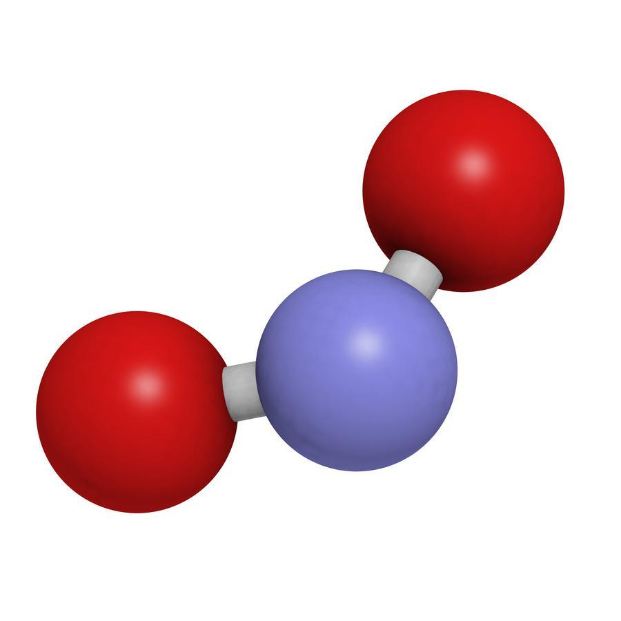 Imagen de la molécula de Dióxido de nitrógeno (NO2)