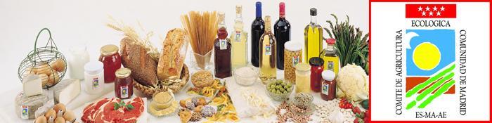 Imagen de productos ecológicos con el logo del Comité de Agricultura Ecológica de la Comunidad de Madrid