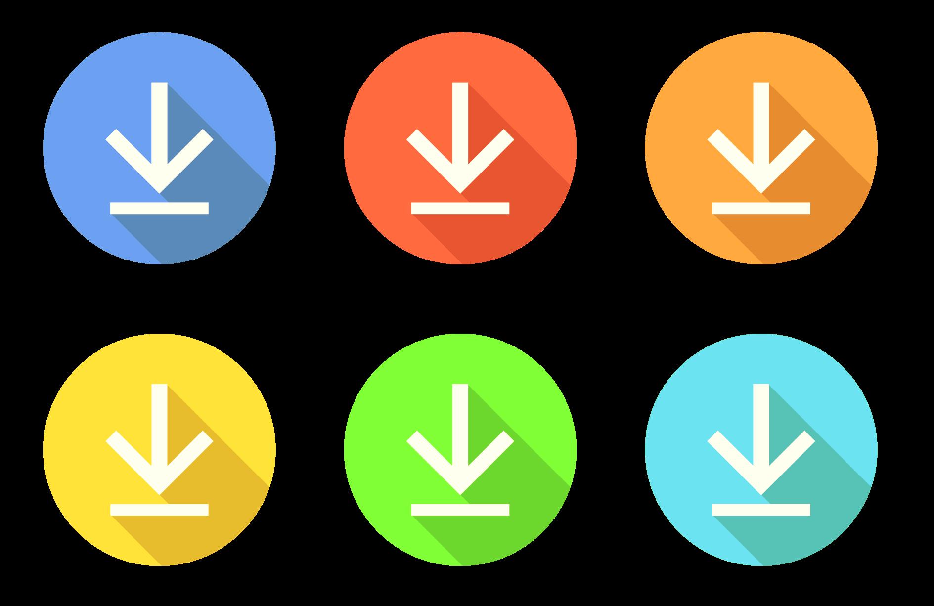 Iconos de descargas de varios colores