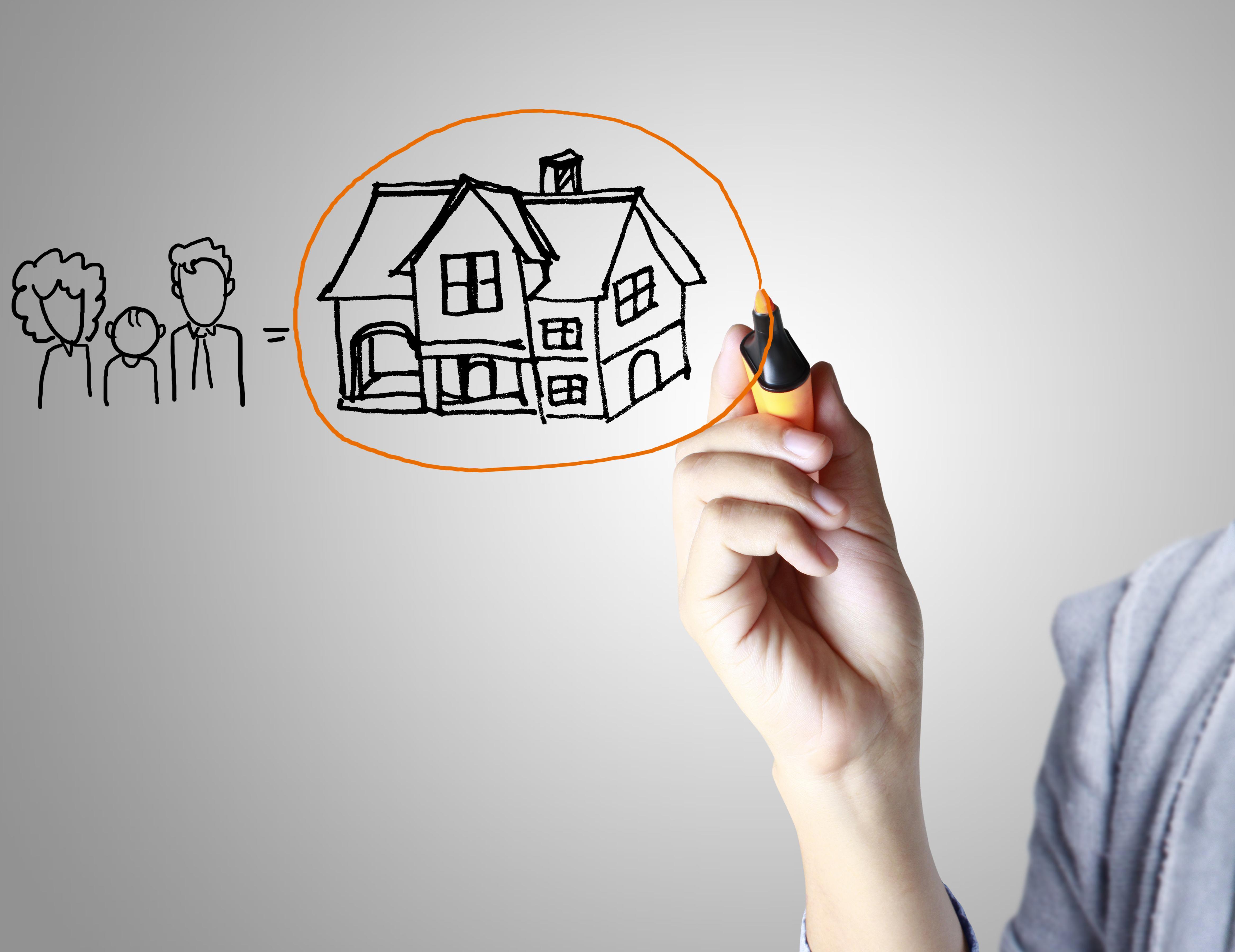 Imagen dibujo casa y familia