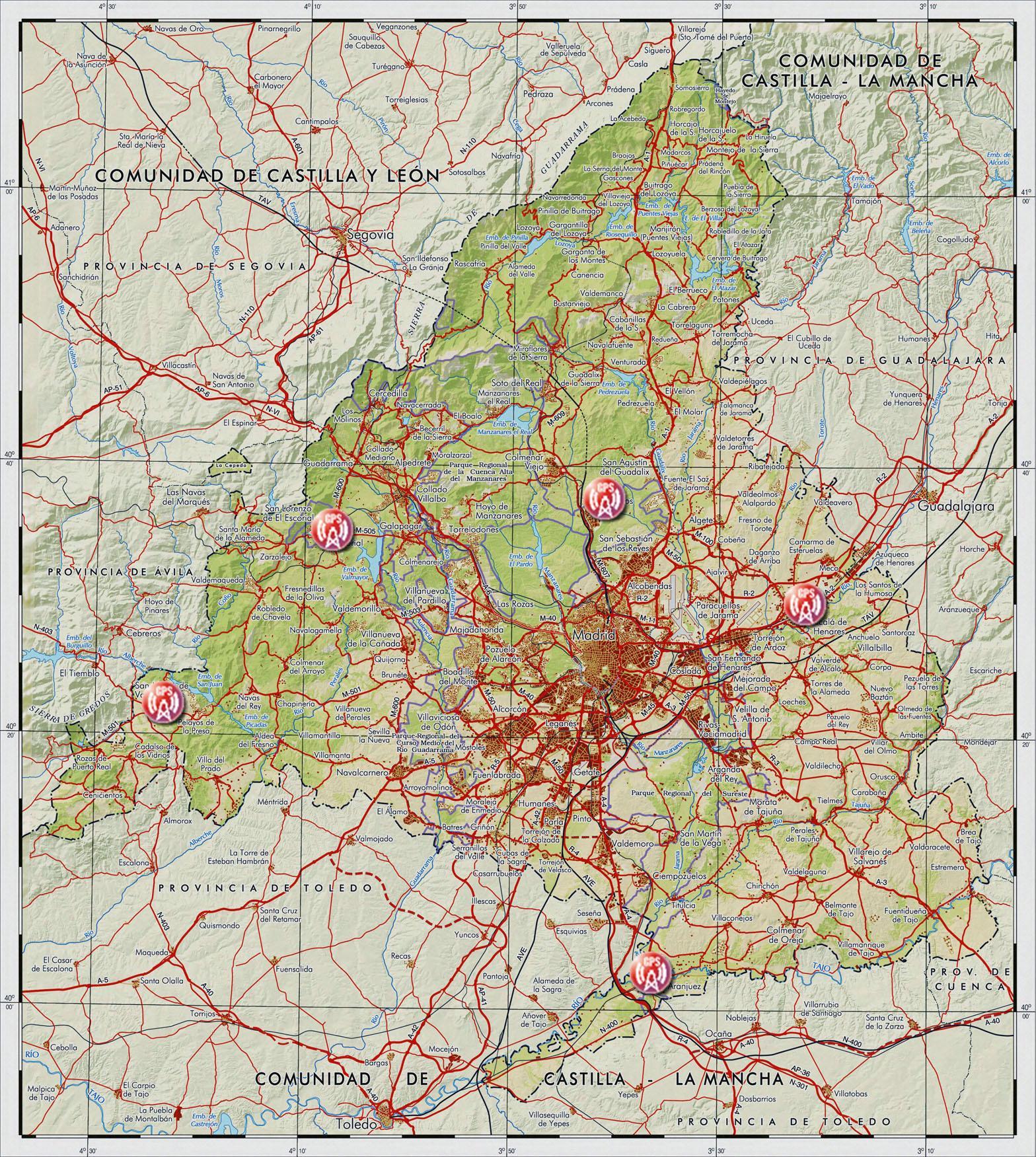 Mapa de Estaciones Base GPS