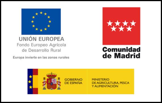 Composición con los logotipos de los organismos que intervienen en la financiación de los cursos de transferencia: Ministerio de Agricultura, Pesca  y Alimentación, Comunidad de Madrid y Unión Europea