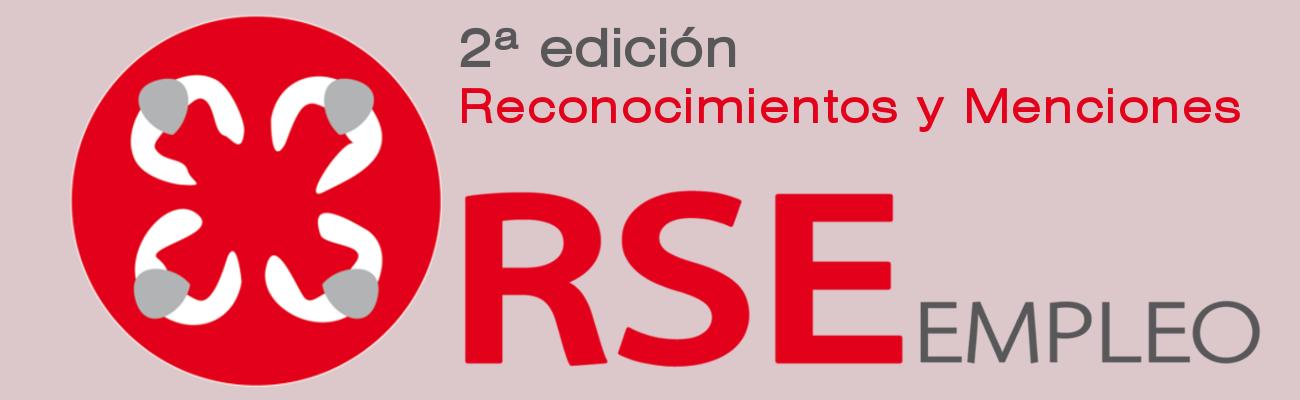 Logotipo con el texto RSE Empleo (segunda edición Reconocimientos y Menciones)