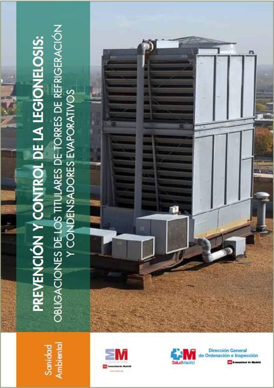 Imagen de la portada del folleto Prevención y control de la legionelosis: Obligaciones de los titulares de torres de refrigeración y condensadores evaporativos