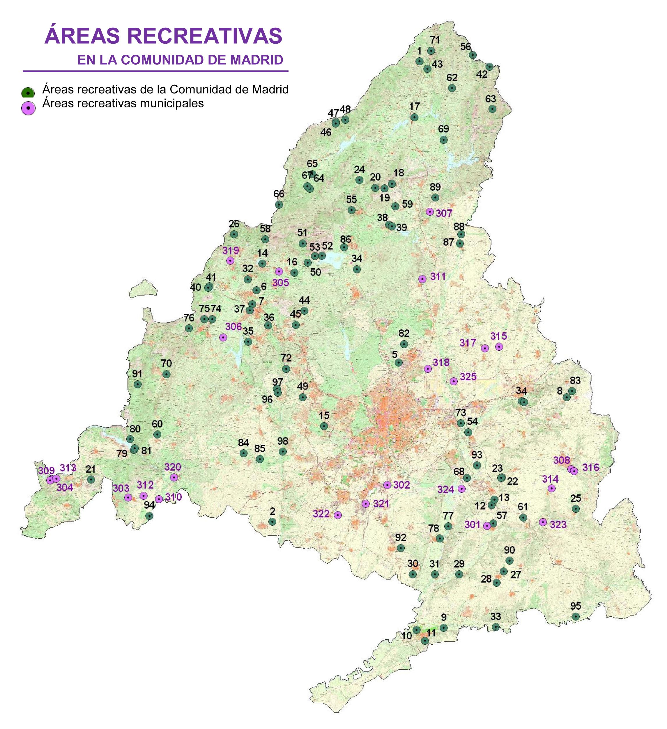 Mapa Áreas recreativas en la Comunidad de Madrid