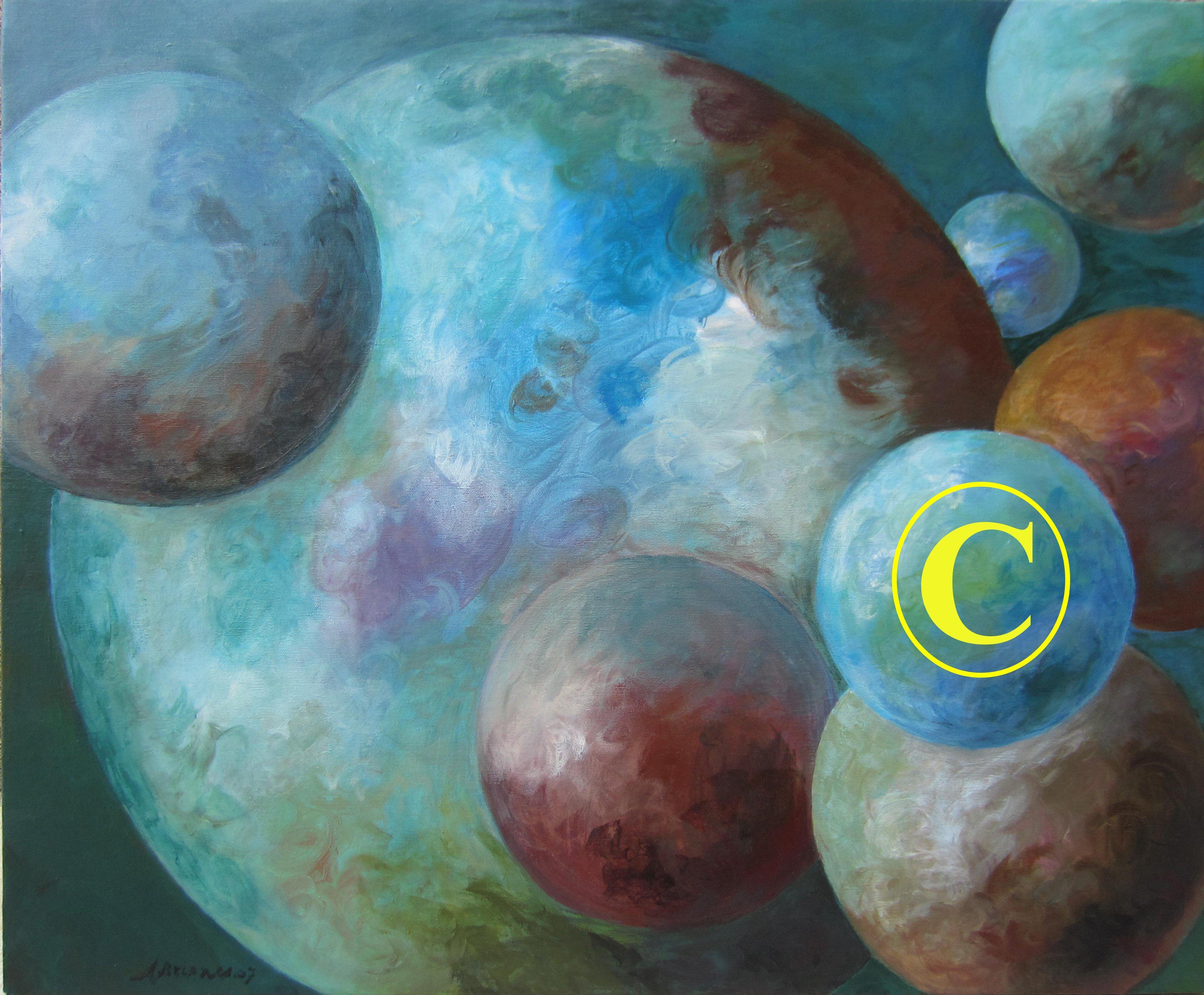 Planetas con símbolo copyright