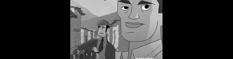 imagen del cartel de la película donde se ve en caricatura una cara de un hombre