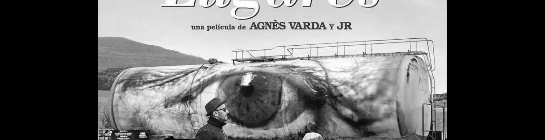 cartel de la película Caras y lugares en la que se ve a dos actores cruzando un paso de peatones y de fondo un camión con la imagen de un ojo