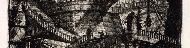 Grabado en blanco y negro de una cárcel por dentro en la que se ven torres, bóvedas y una sombras que podrían ser presos por las escaleras