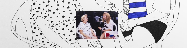 Dibujo y foto de dos mujeres hablando