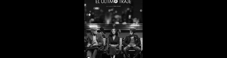 imagen película El último traje en la que se ven tres actores sentados en un banco