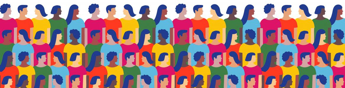 Ilustración con muchas personas agrupadas por filas
