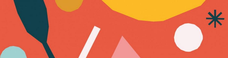 Fondo naranja y círculos, triángulos y diferentes símbolos de colores