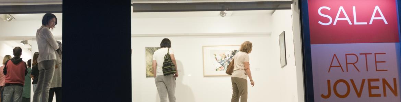 Vista desde el exterior de una estancia de la sala de arte joven iluminada, con visitantes conociendo una exposición