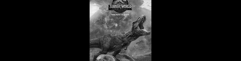 imagen del cartel de la película Jurassic World en la que se ve un dinosaurio con la boca abierta