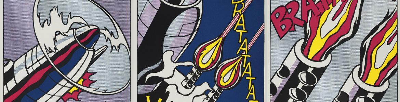 Dibujo de cómic en el que se ven armas de guerra y bocadillos con onomatopeyas del ruido que emiten al detonarse