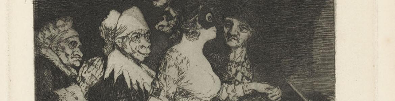 Mujer joven enmascarada rodeada de 4 personajes más