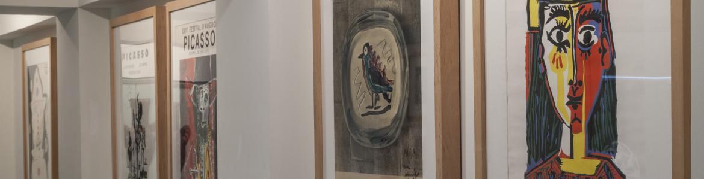 Cinco carteles de Picasso en una de las salas de su museo en Buitrago del Lozoya