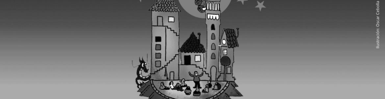 Imagen en la que se ve un castillo rodeado de niños sentados viendo un cuentacuentos