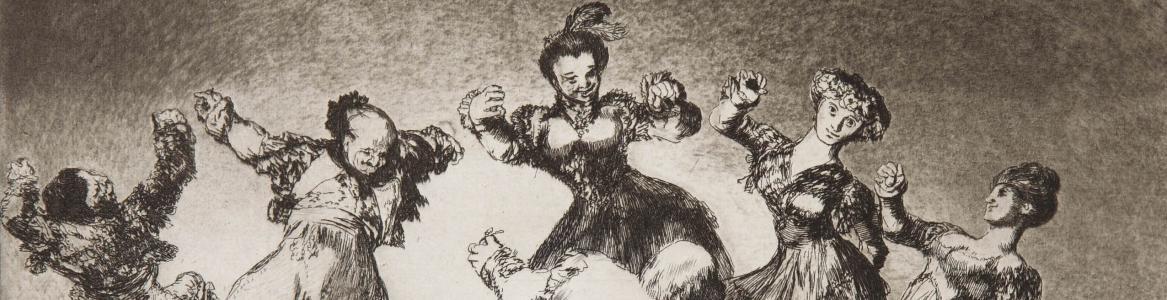 3 personajes femeninos y 3 masculinos bailando en corro