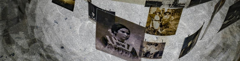 Cilindro formado por imágenes antiguas en blanco y negro con retratos de mujeres
