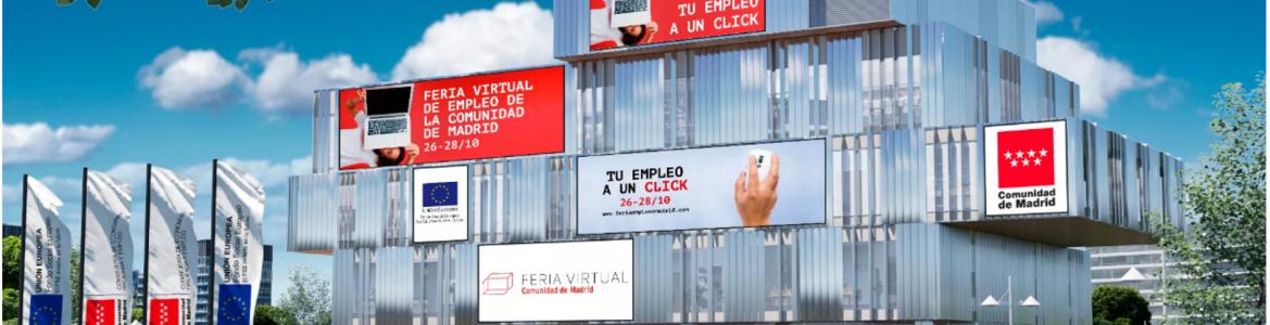 Portada web con edificio y gente tipo campus 3D Feria Virtual Empleo