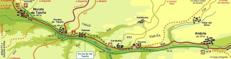 Mapa vía verdes del Tajuña y del tren de los 40 días