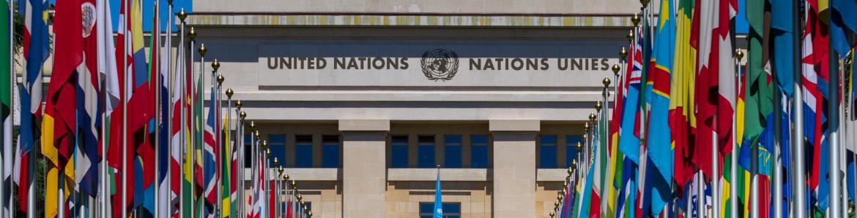 Edificio de las Naciones Unidas en Ginebra, flanqueado por un pasillo de banderas de distintos países