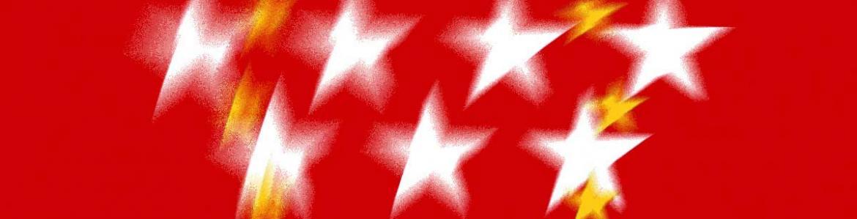 Bandera de la Comunidad de Madrid a la que se añaden las estrellas de la bandera de la UE
