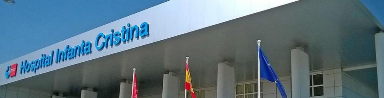 Fachada principal del Hospital Universitario Infanta Cristina, en Parla, Madrid