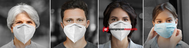 hombre y mujer mirando de frente con mascarillas