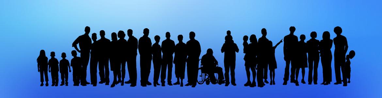 Siluetas de personas, una en silla de ruedas