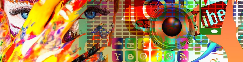 Collage de muchos símbolos de medios sociales de comunicación a través del móvil