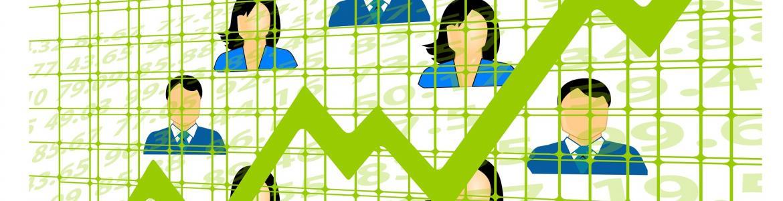 Imagen de un gráfico con flecha ascendente de color verde