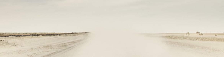 Fotografía con colores cálidos que muestras una carretera desértica y llena de polvo en suspensión