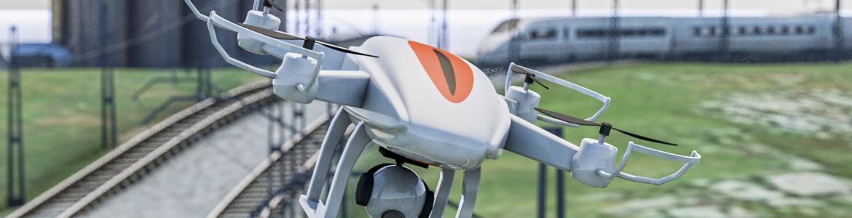 Dron sobre vías de un tren. ESA BIC Sigmarail drone