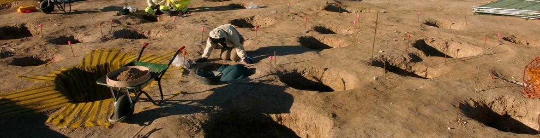 Imagen de una vista general de la excavación arqueológica de los pozos