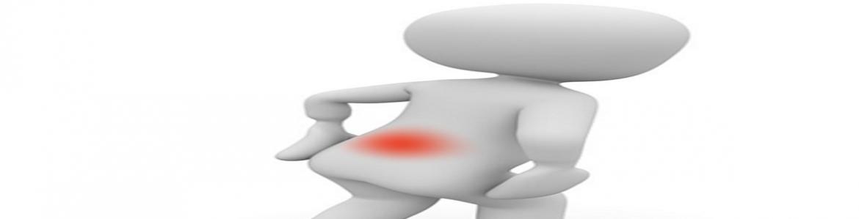 Dibujo de persona con punto rojo en la espalda simulando dolor